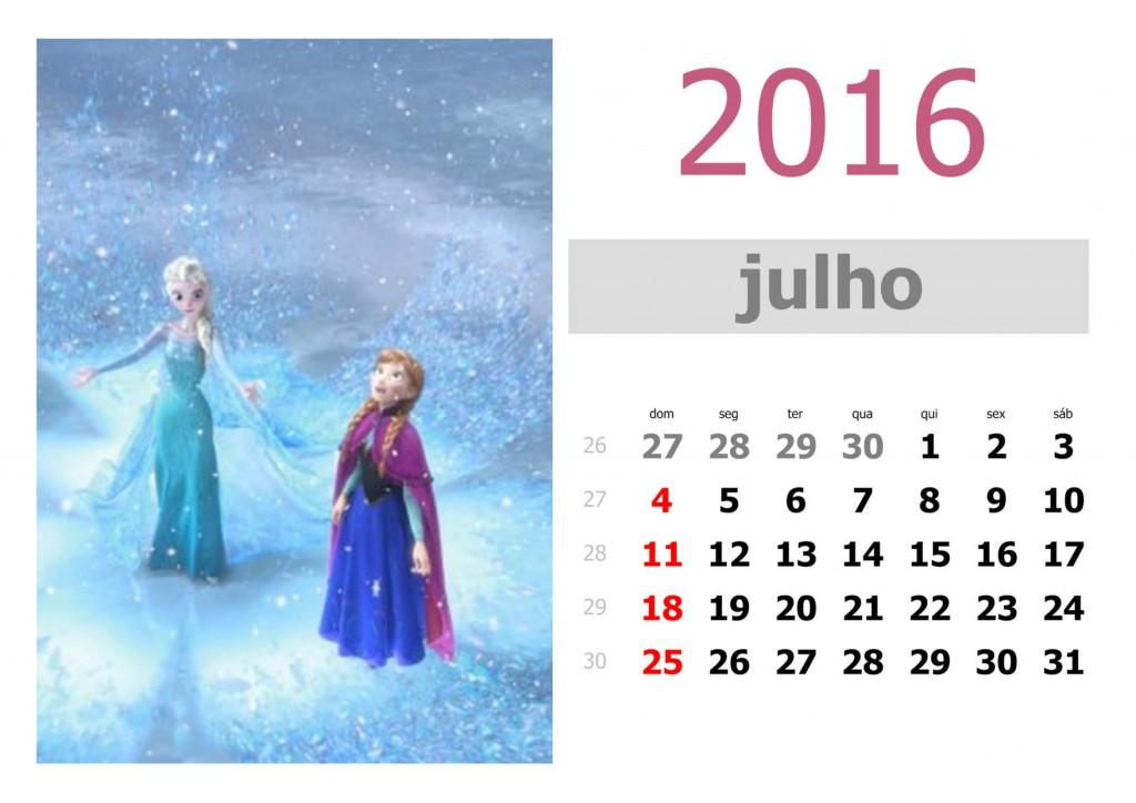 Calendário frozen 2016 para imprimir - julho
