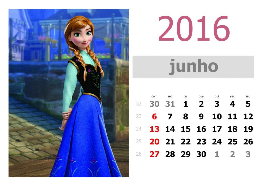 Calendário frozen 2016 para imprimir - junho