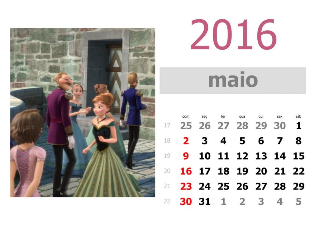Calendário frozen 2016 para imprimir - maio