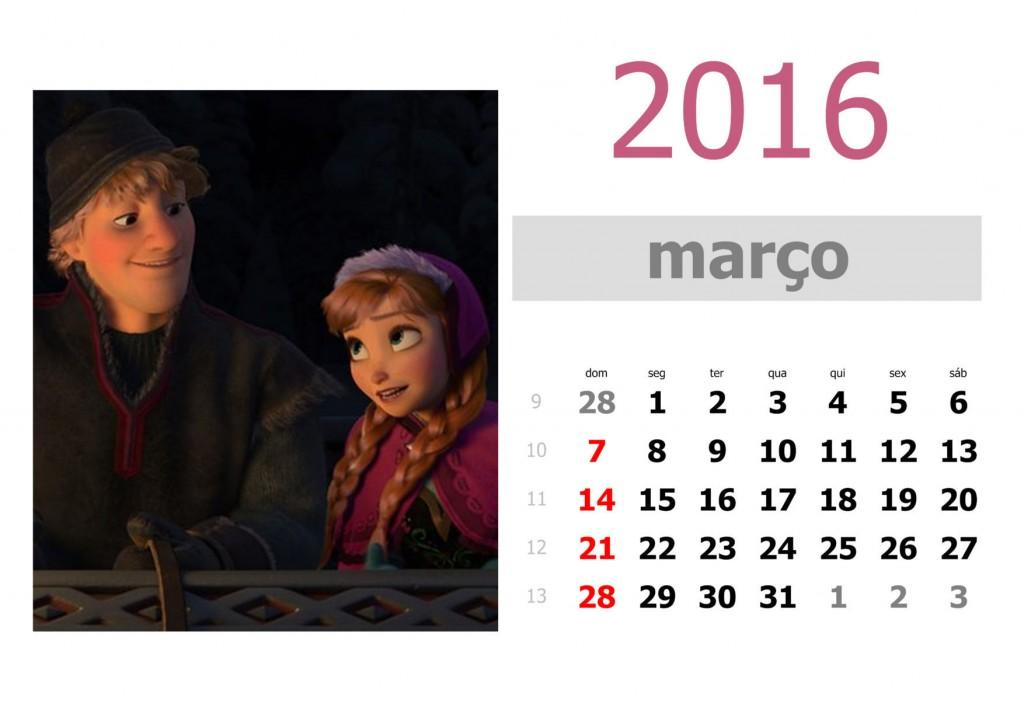Calendário frozen 2016 para imprimir - março