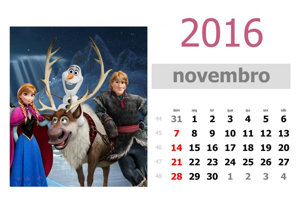 Calendário frozen 2016 para imprimir - novembro