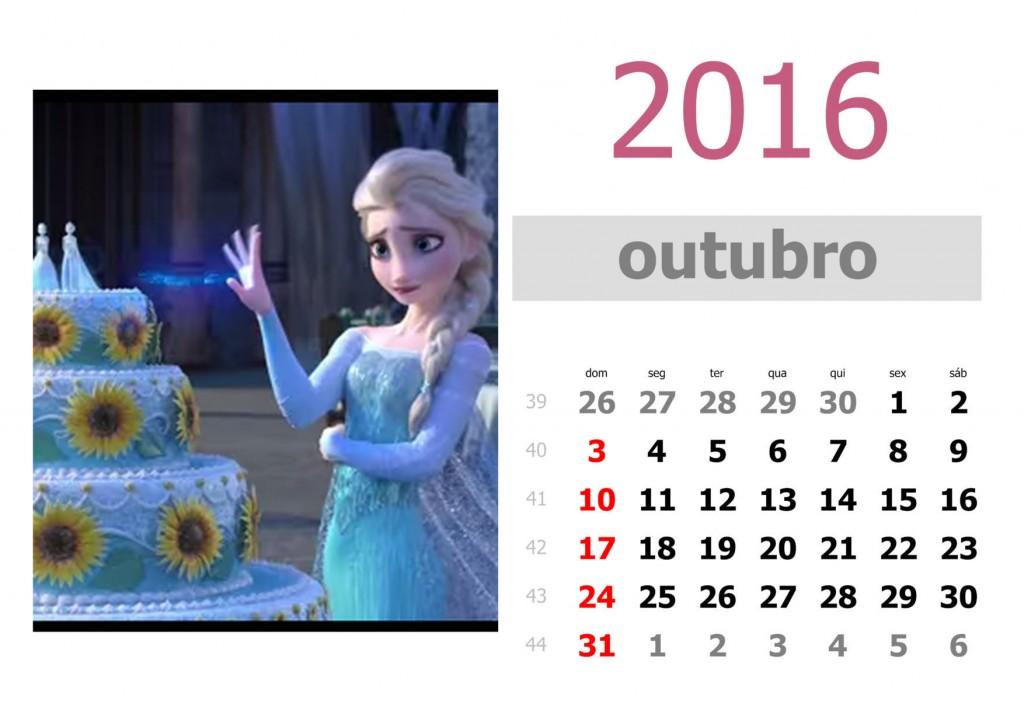 Calendário frozen 2016 para imprimir - outubro