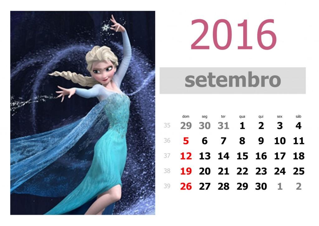 Calendário frozen 2016 para imprimir - setembro