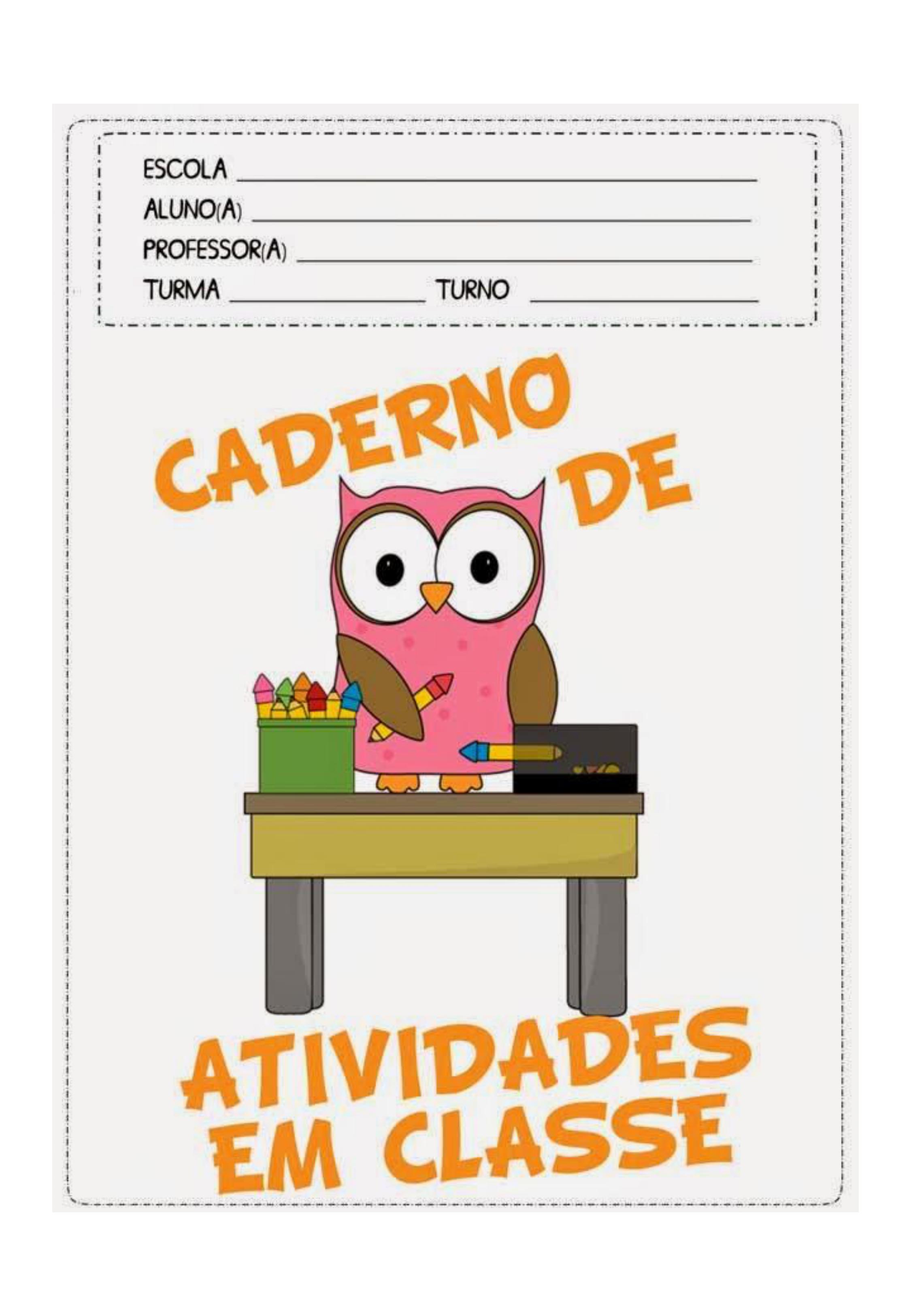 capa de caderno colorido de atividades de classe