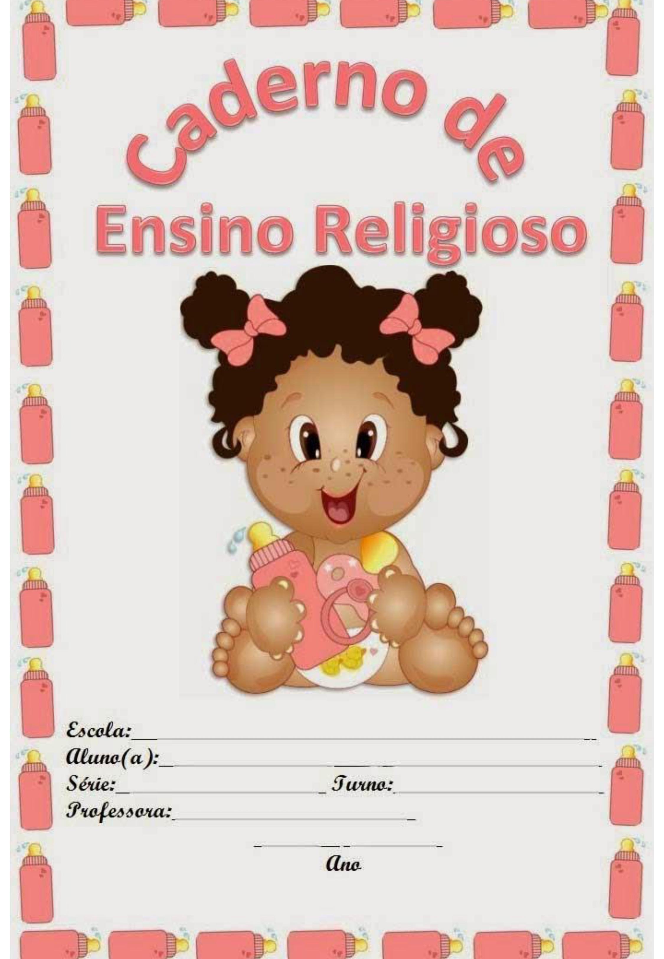 capa de caderno colorido de ensino religioso