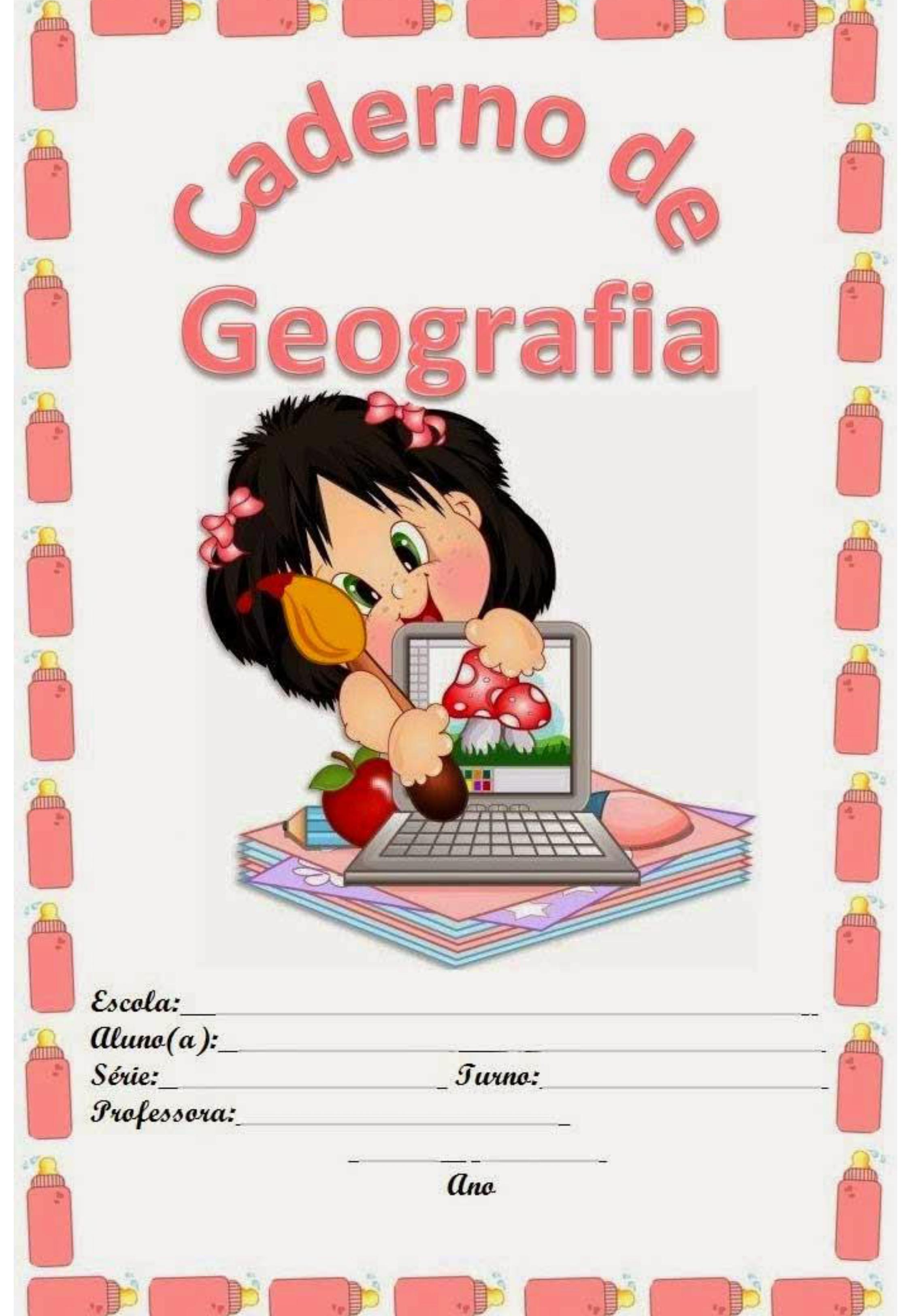 capa de caderno colorido de geografia