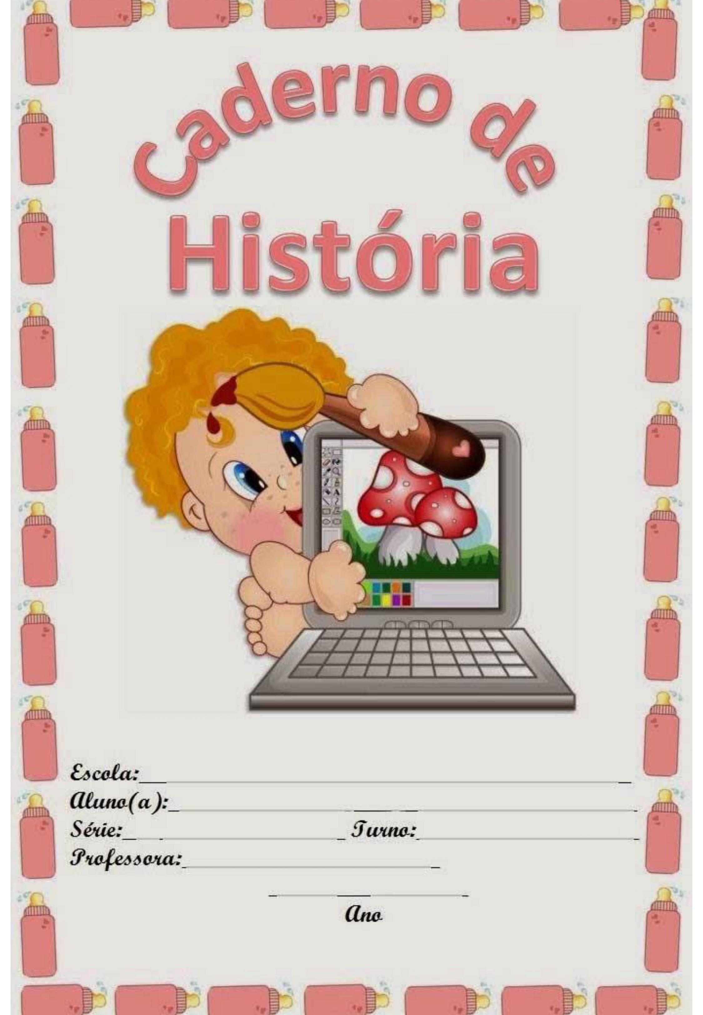 capa de caderno colorido de história