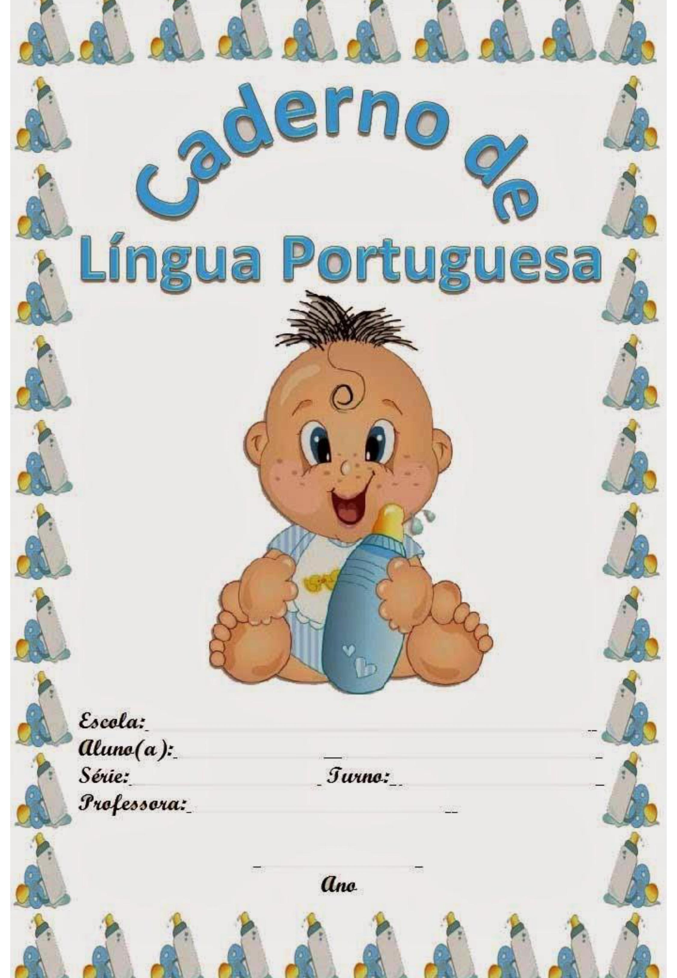 capa de caderno colorido de língua portuguesa