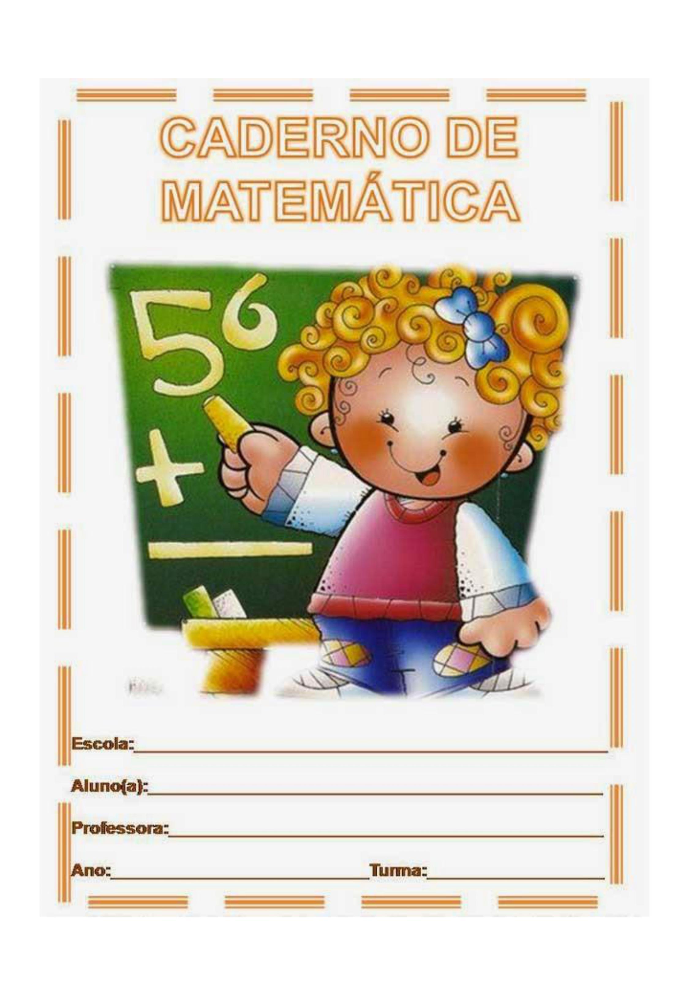 capa de caderno colorido de matemática