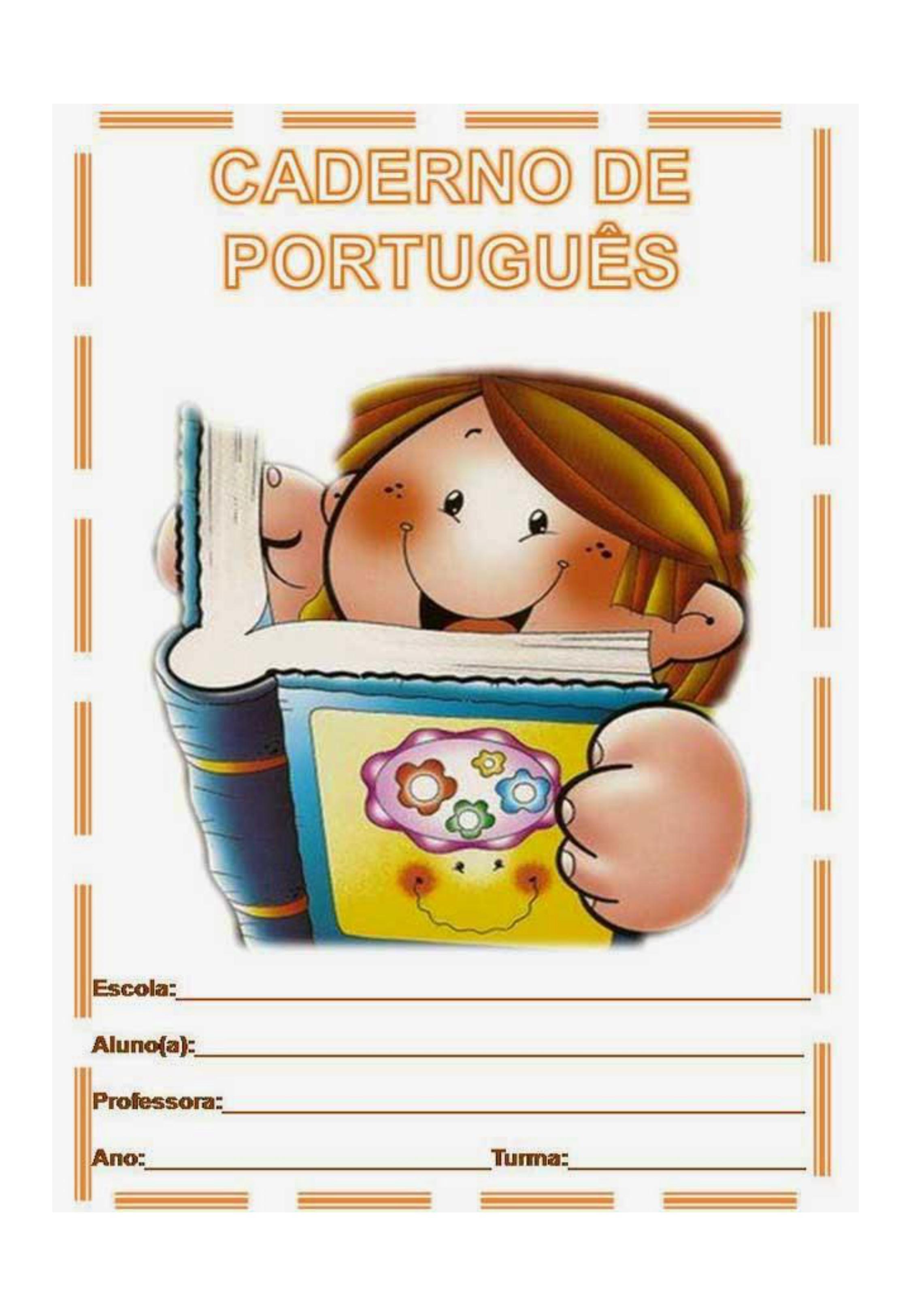 capa de caderno colorido de português