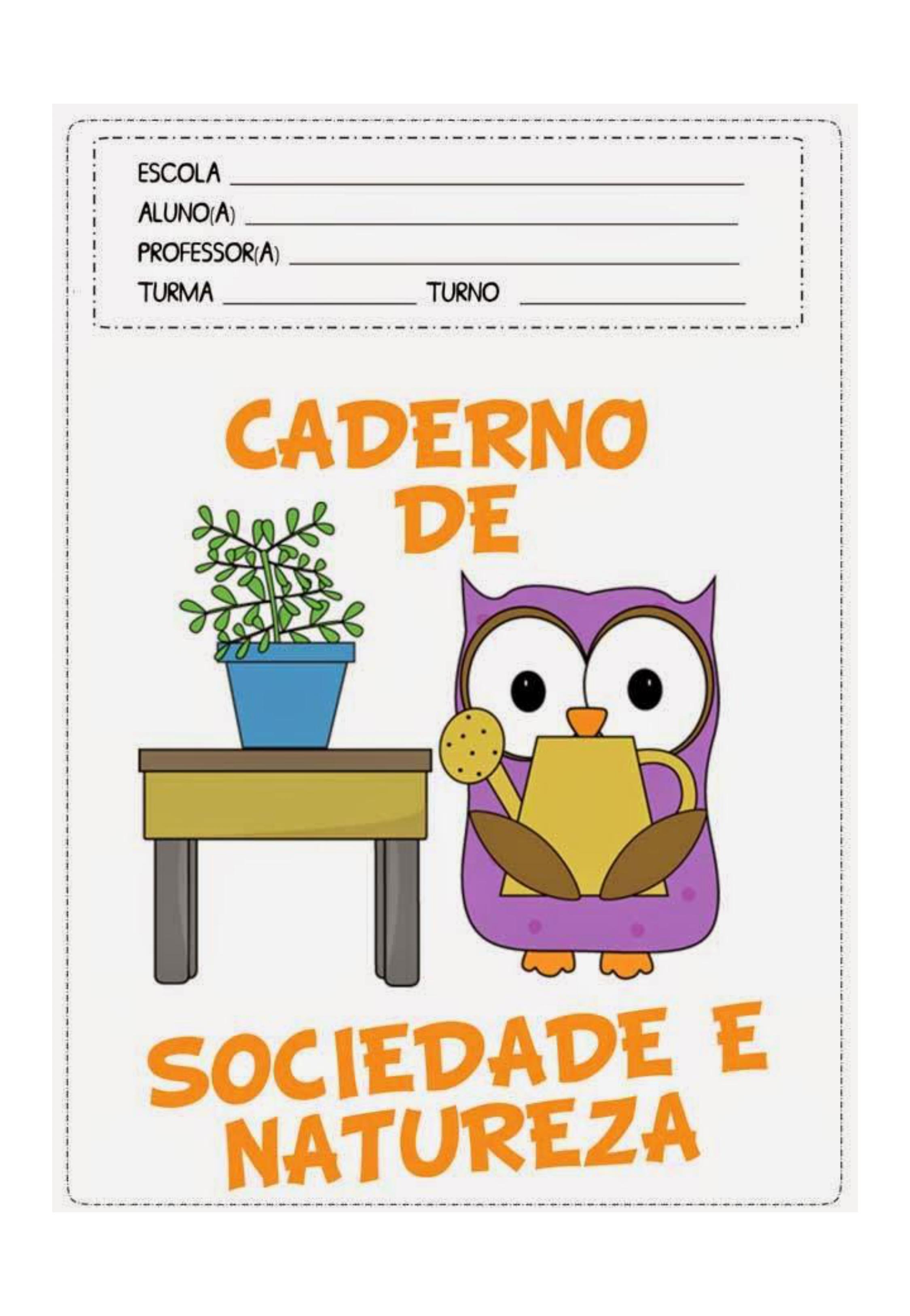 capa de caderno colorido de sociedade e natureza
