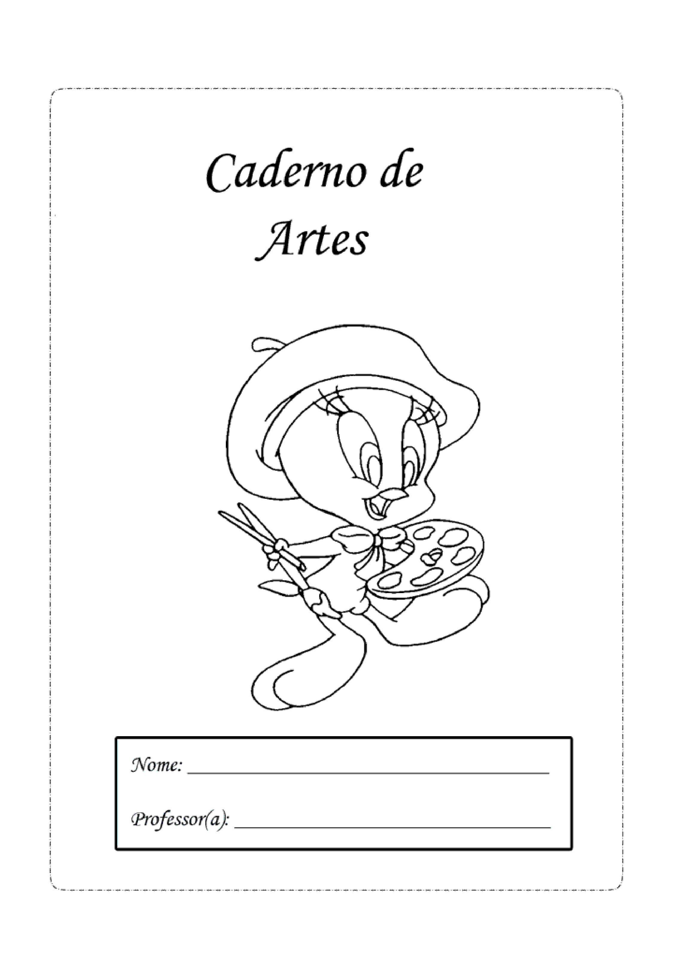 capa de caderno de artes