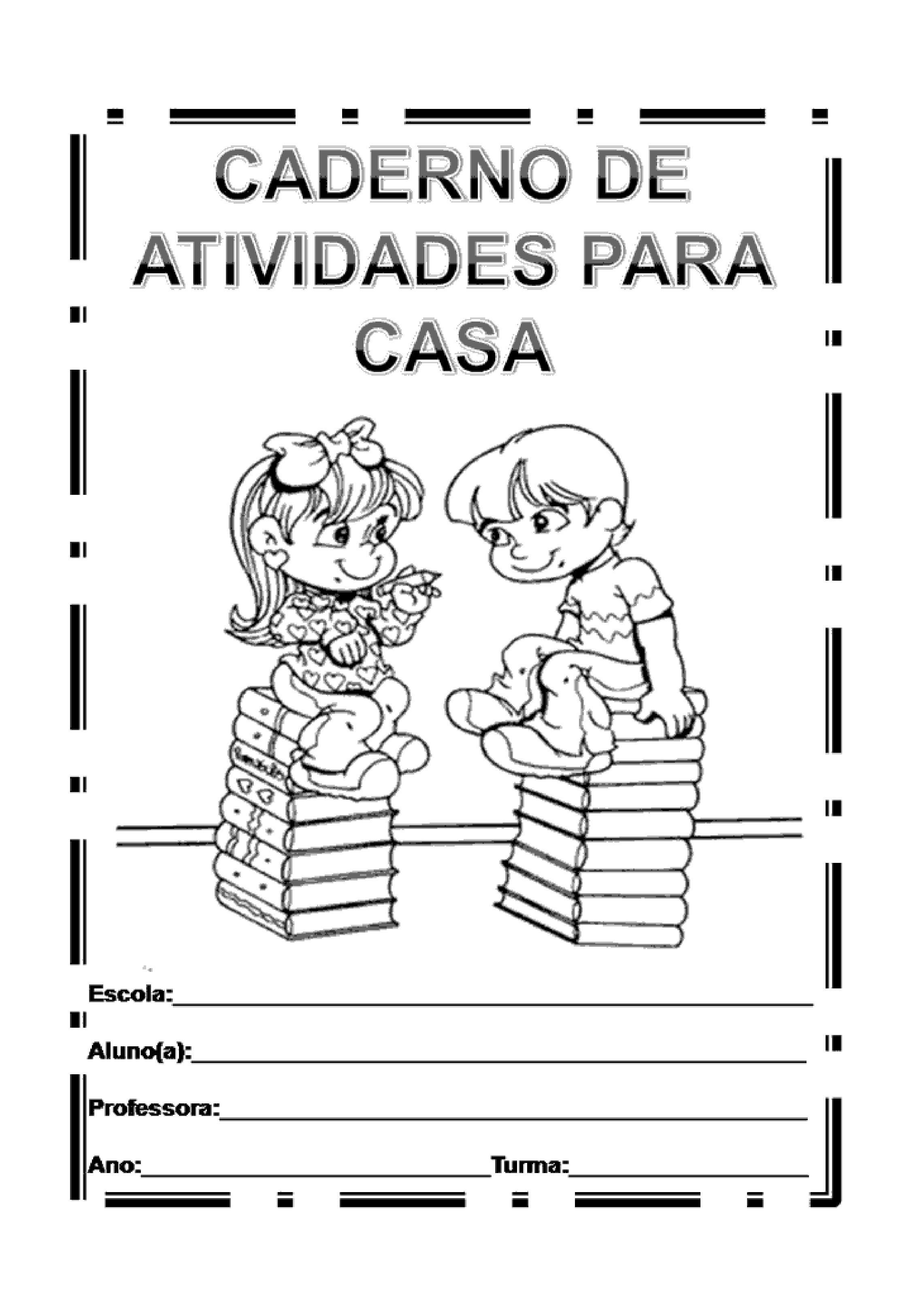 capa de caderno de atividades para casa