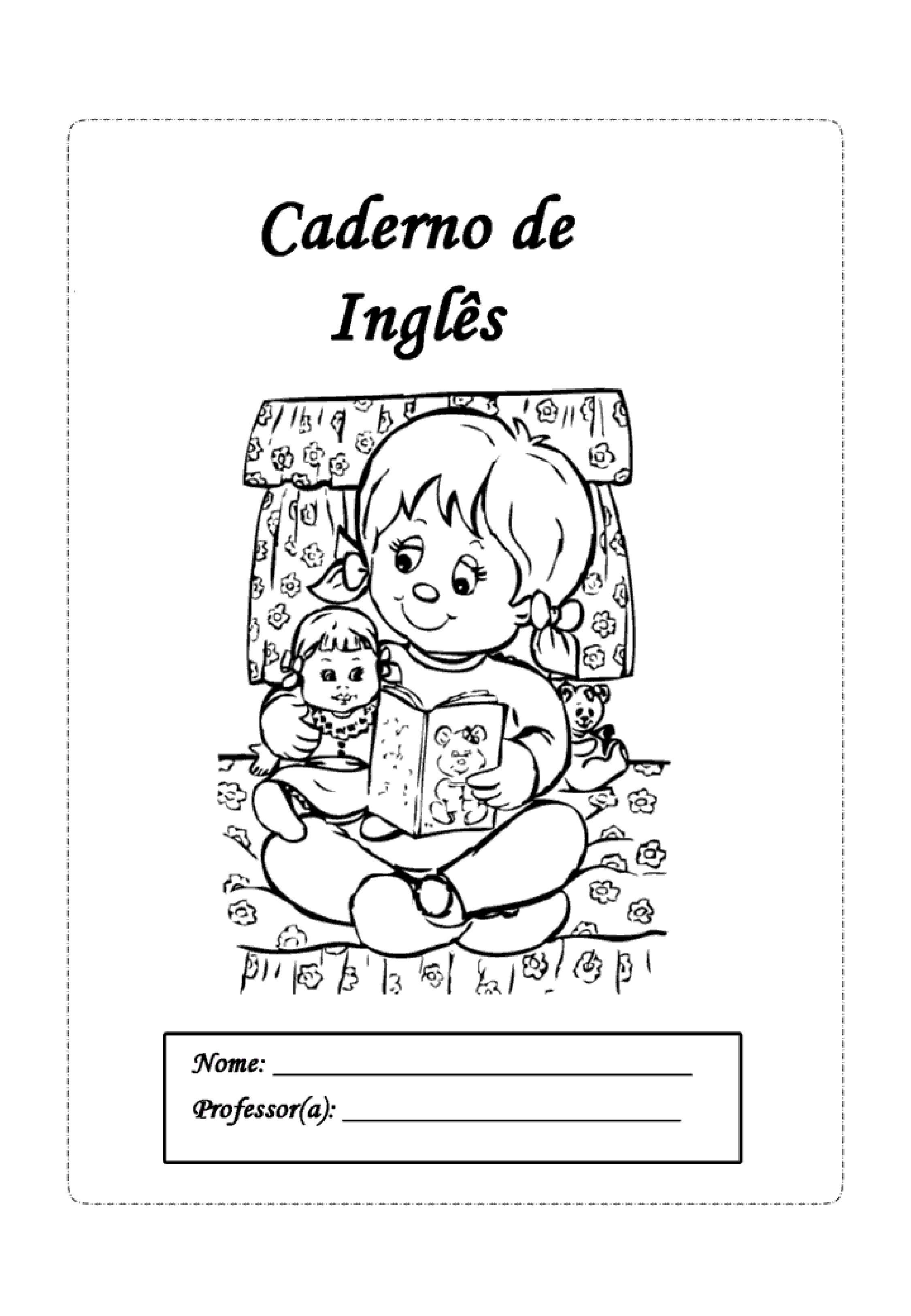 capa de caderno de inglês