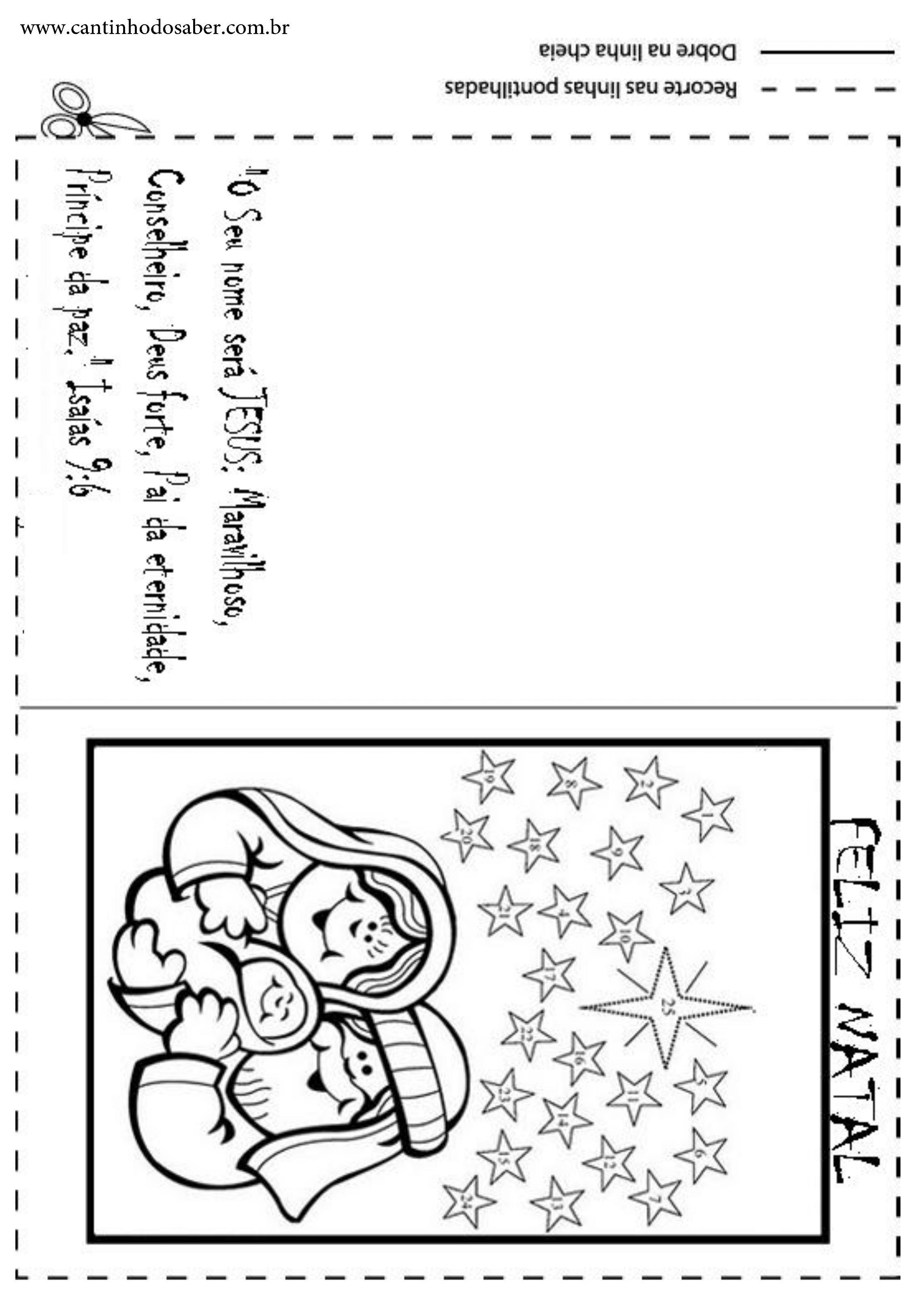 Cartoes De Natal Para Imprimir E Colorir