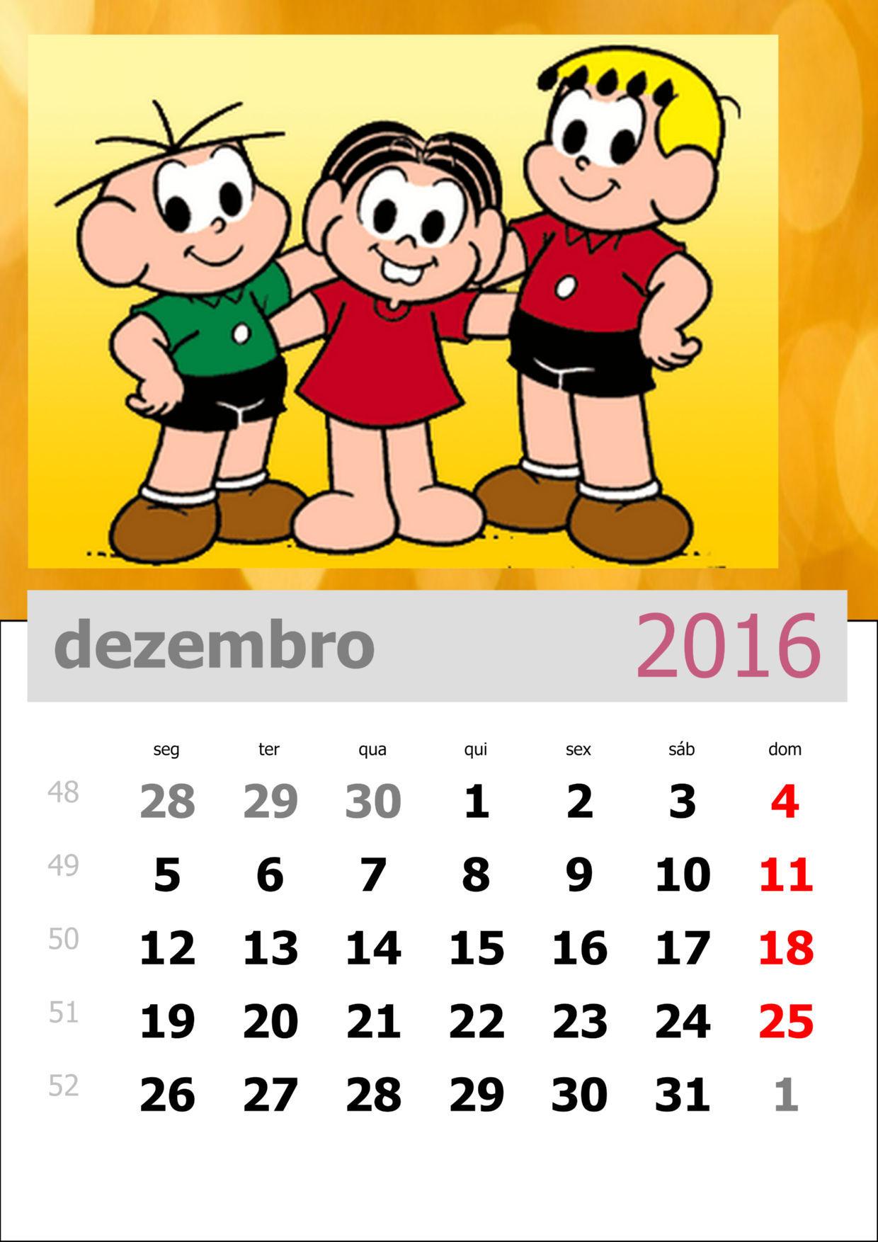 Calendário da Turma da Mônica 2016 - Mês de dezembro