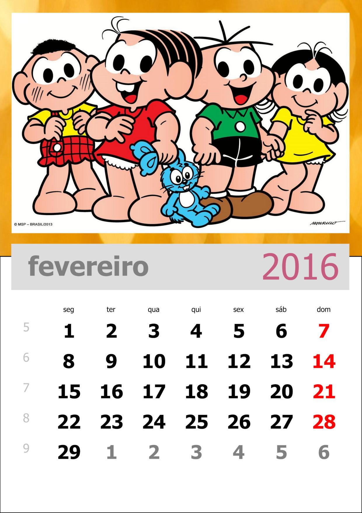 Calendário da Turma da Mônica 2016 - Mês de fevereiro