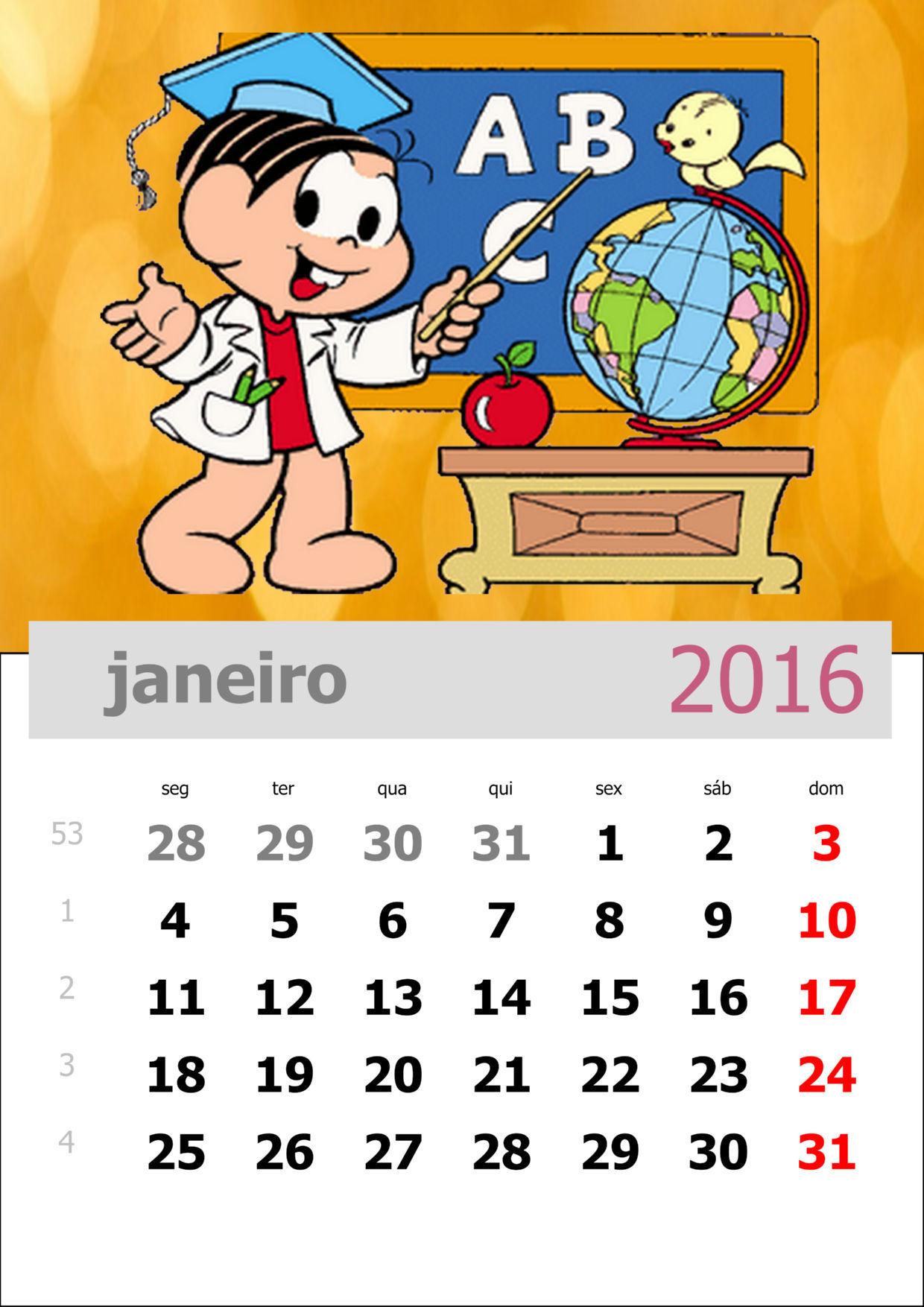 Calendário da Turma da Mônica 2016 - Mês de janeiro