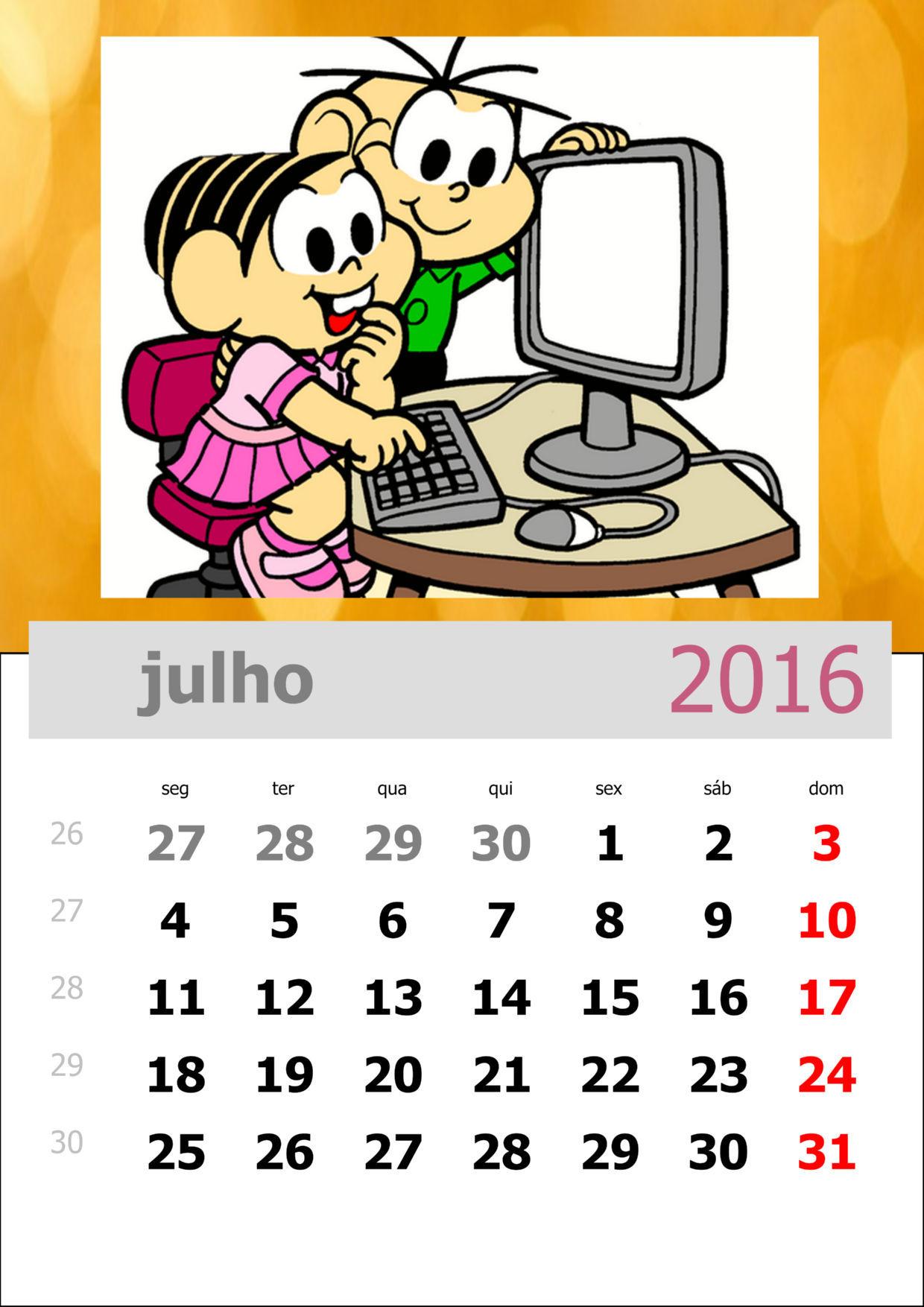 Calendário da Turma da Mônica 2016 - Mês de julho