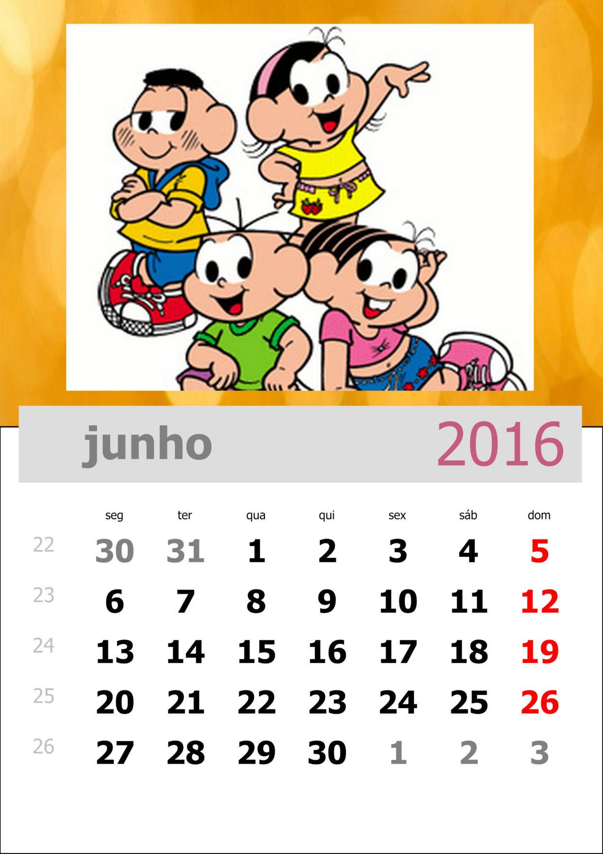 Calendário da Turma da Mônica 2016 - Mês de junho