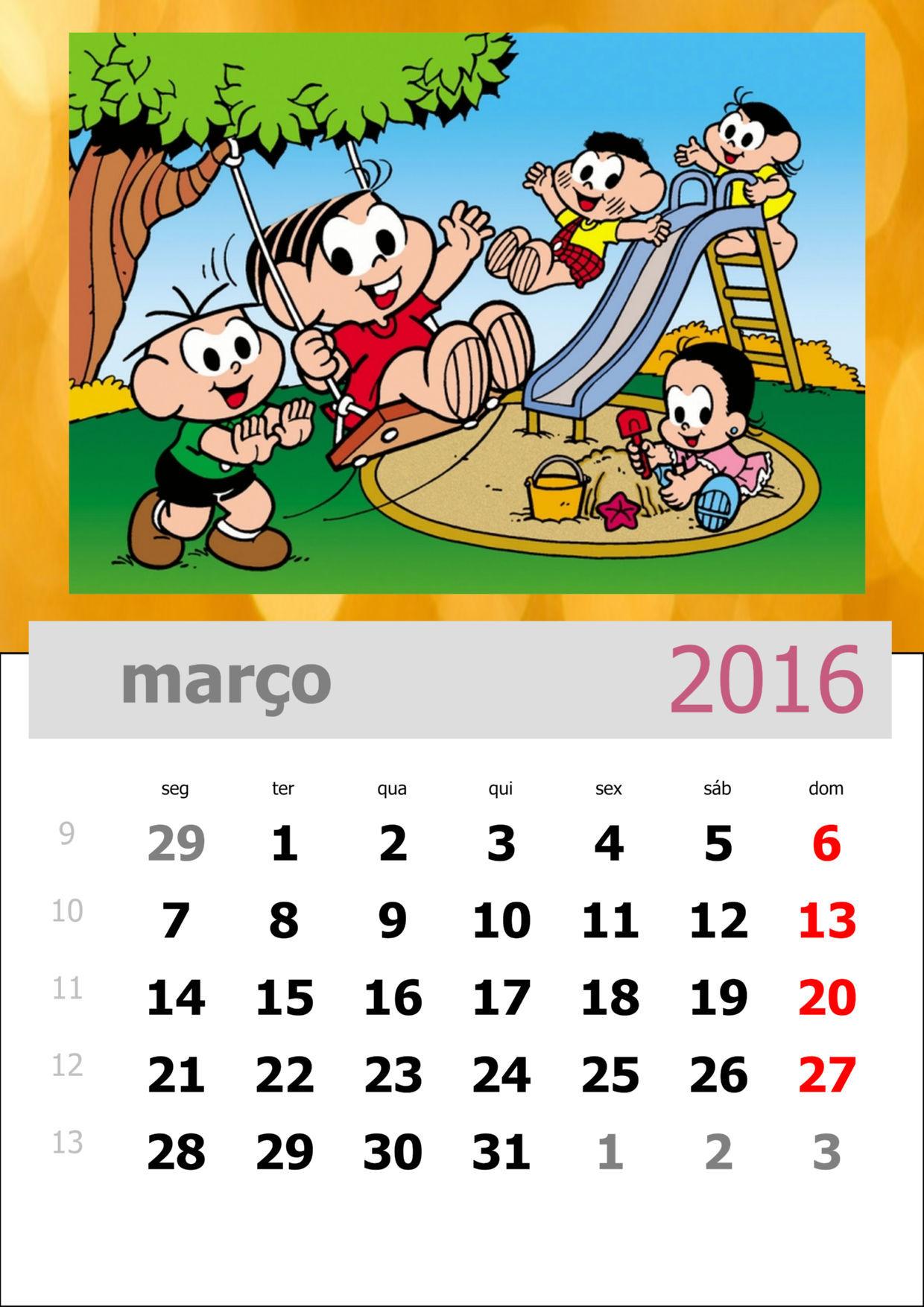 Calendário da Turma da Mônica 2016 - Mês de março