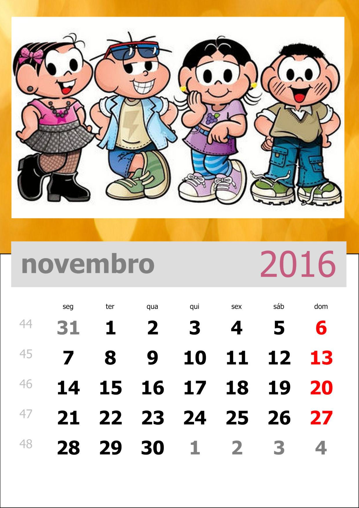 Calendário da Turma da Mônica 2016 - Mês de novembro