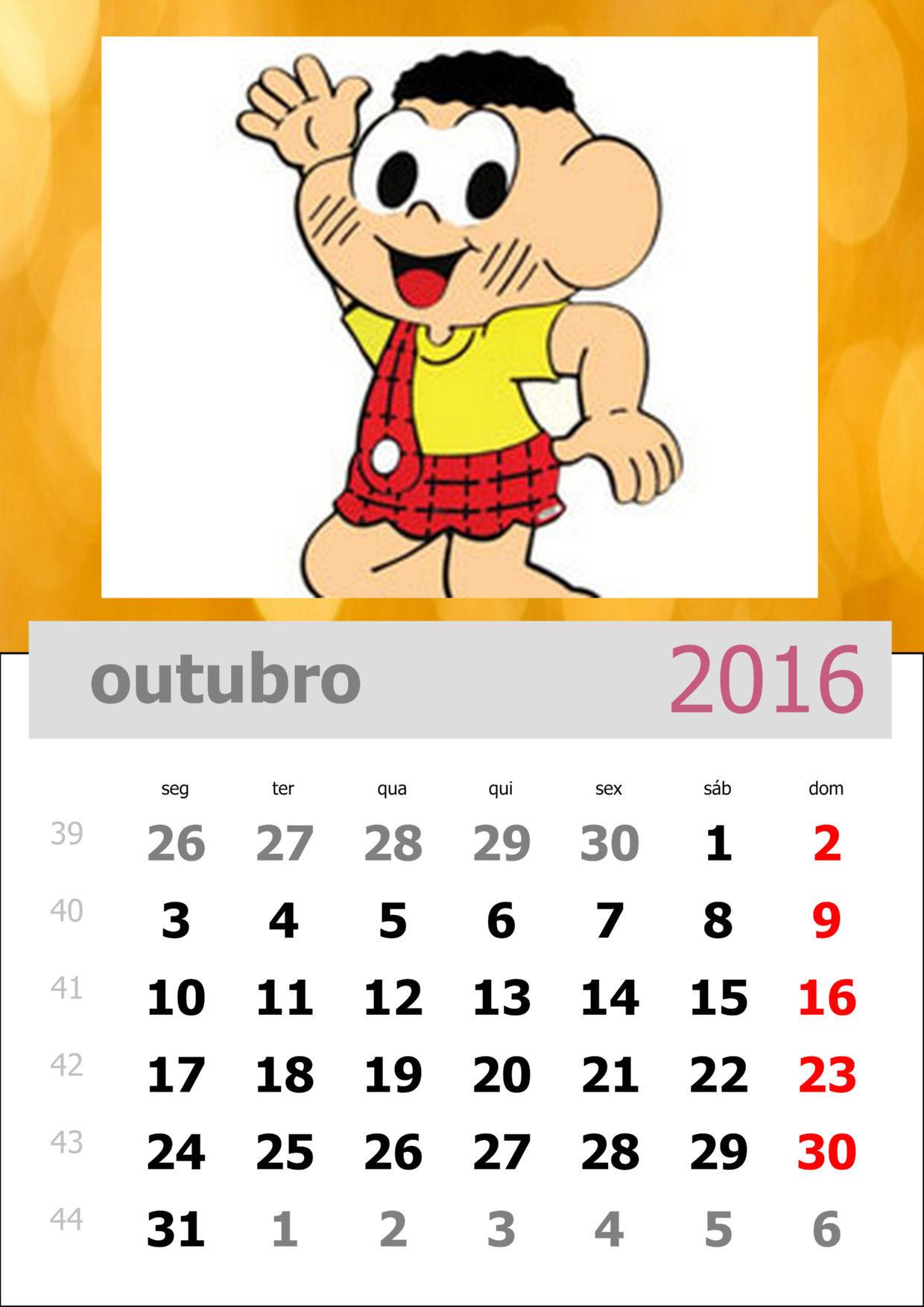 Calendário da Turma da Mônica 2016 - Mês de outubro