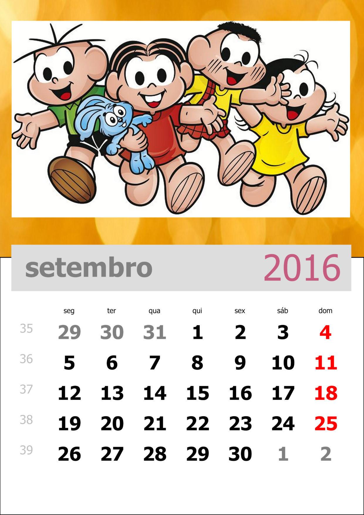 Calendário da Turma da Mônica 2016 - Mês de setembro