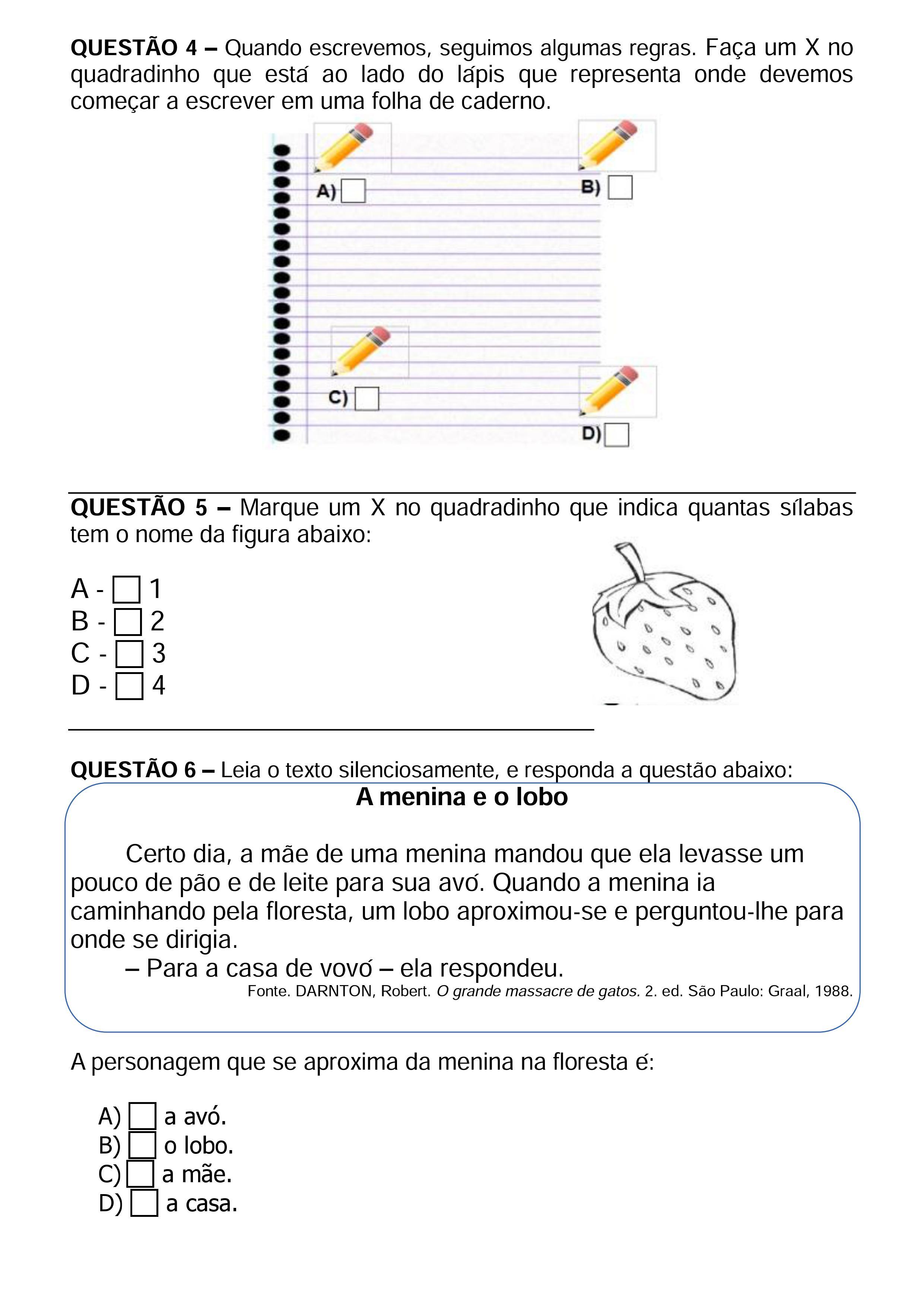 Simulado de matemática para o terceiro ano do ensino fundamental