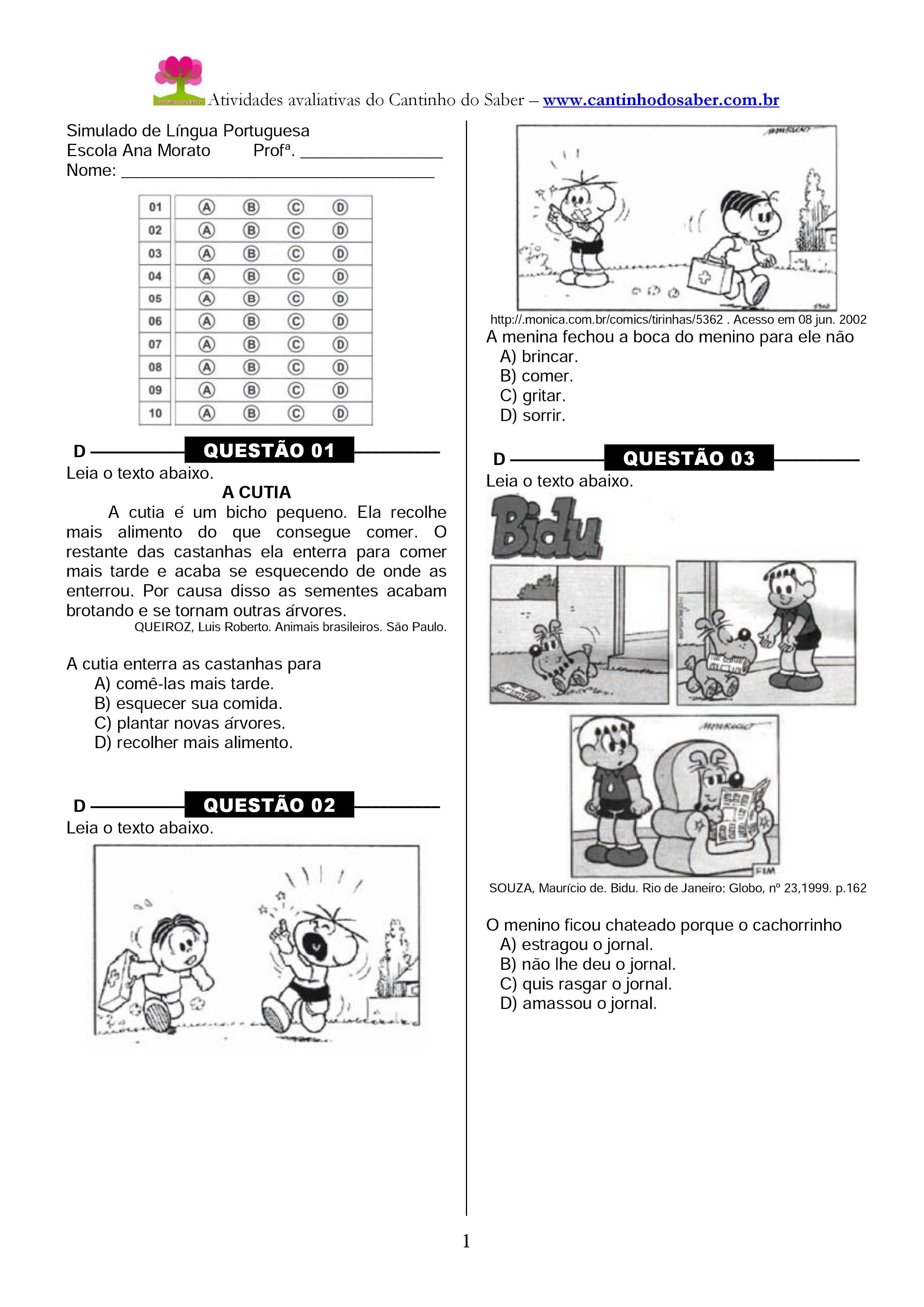 Simulado de português para o terceiro ano