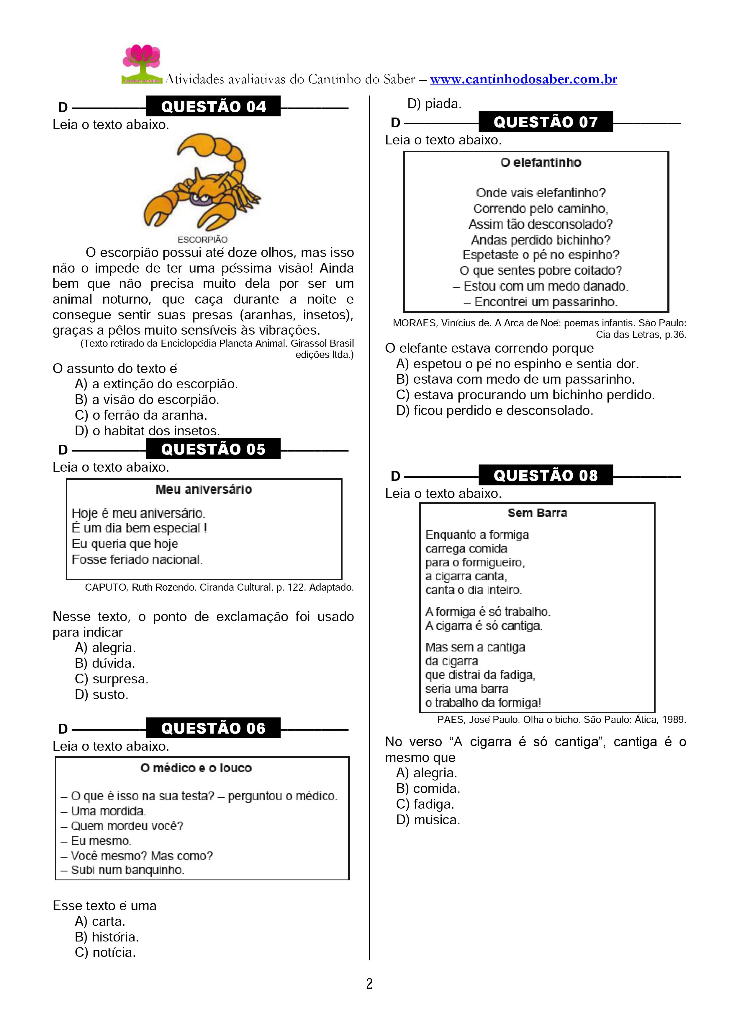 Well-known Arquivos Provas e Avaliações - Atividades para a Educação Infantil  NG15