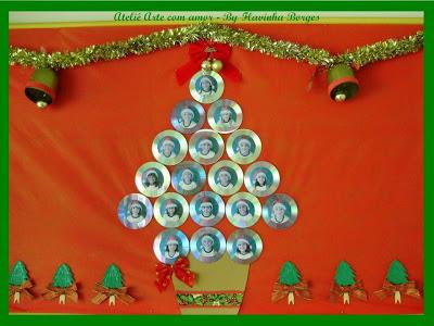 12 rvores de natal com cd reciclado for Mural sobre o natal