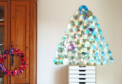 Árvore de natal com CDs