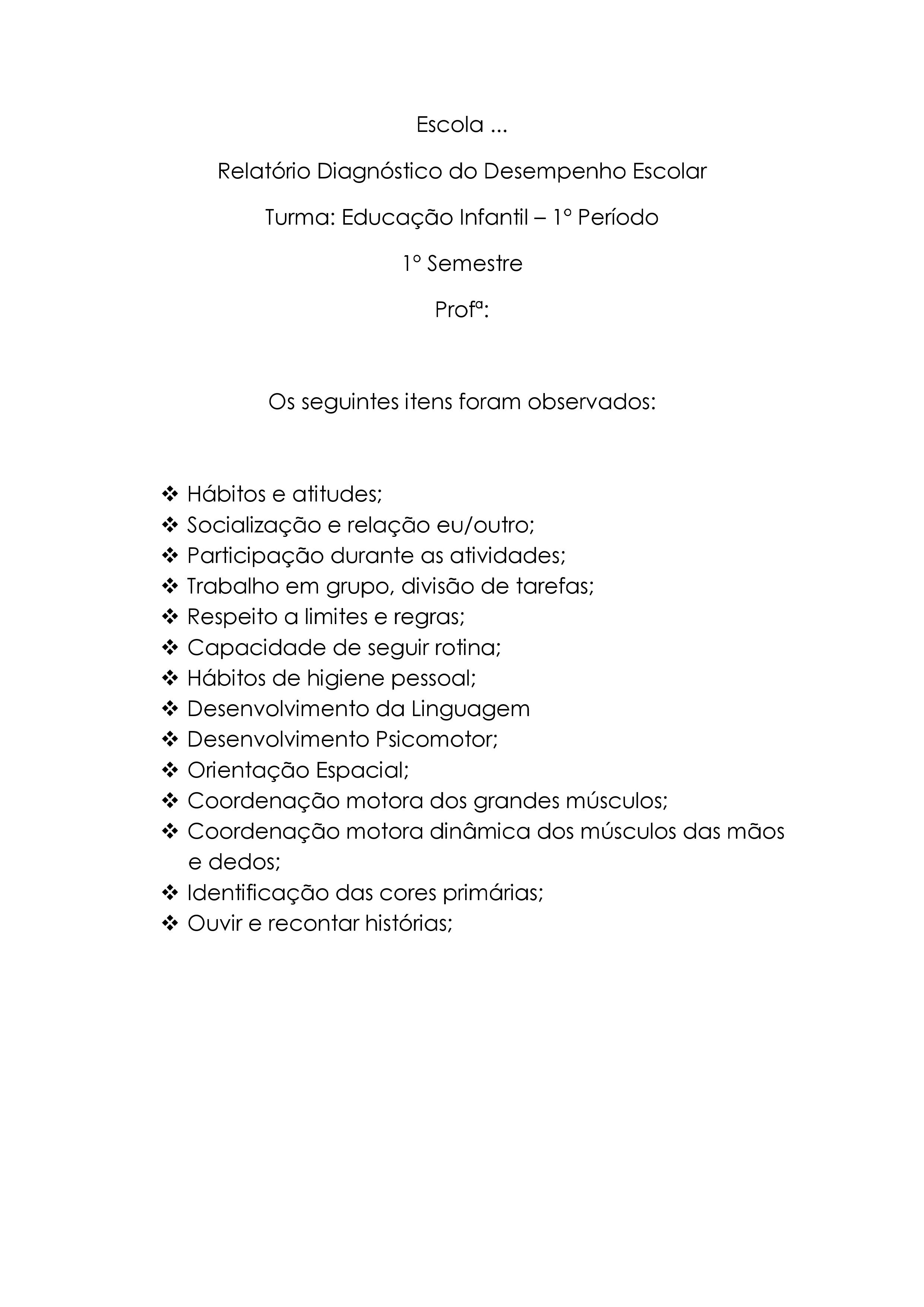 Super Modelo de relatório de avaliação do desempenho escolar CH69