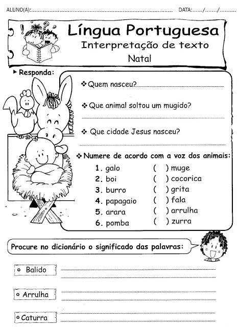 Atividades de natal de interpretação de texto