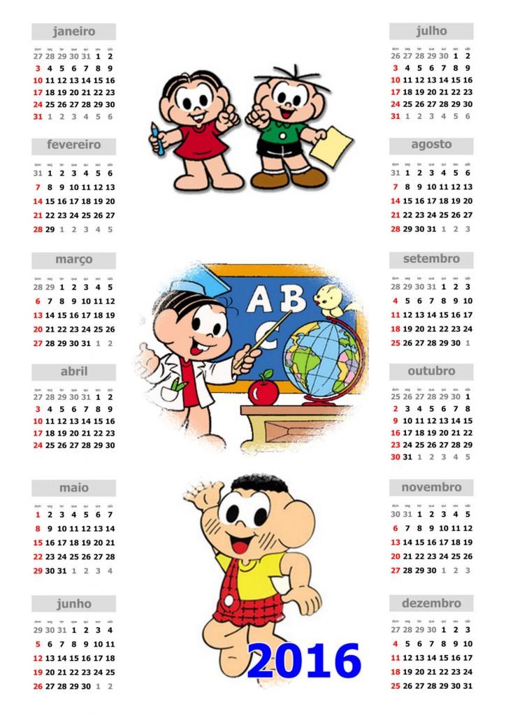 Calendário 2016 Turma da Mônica