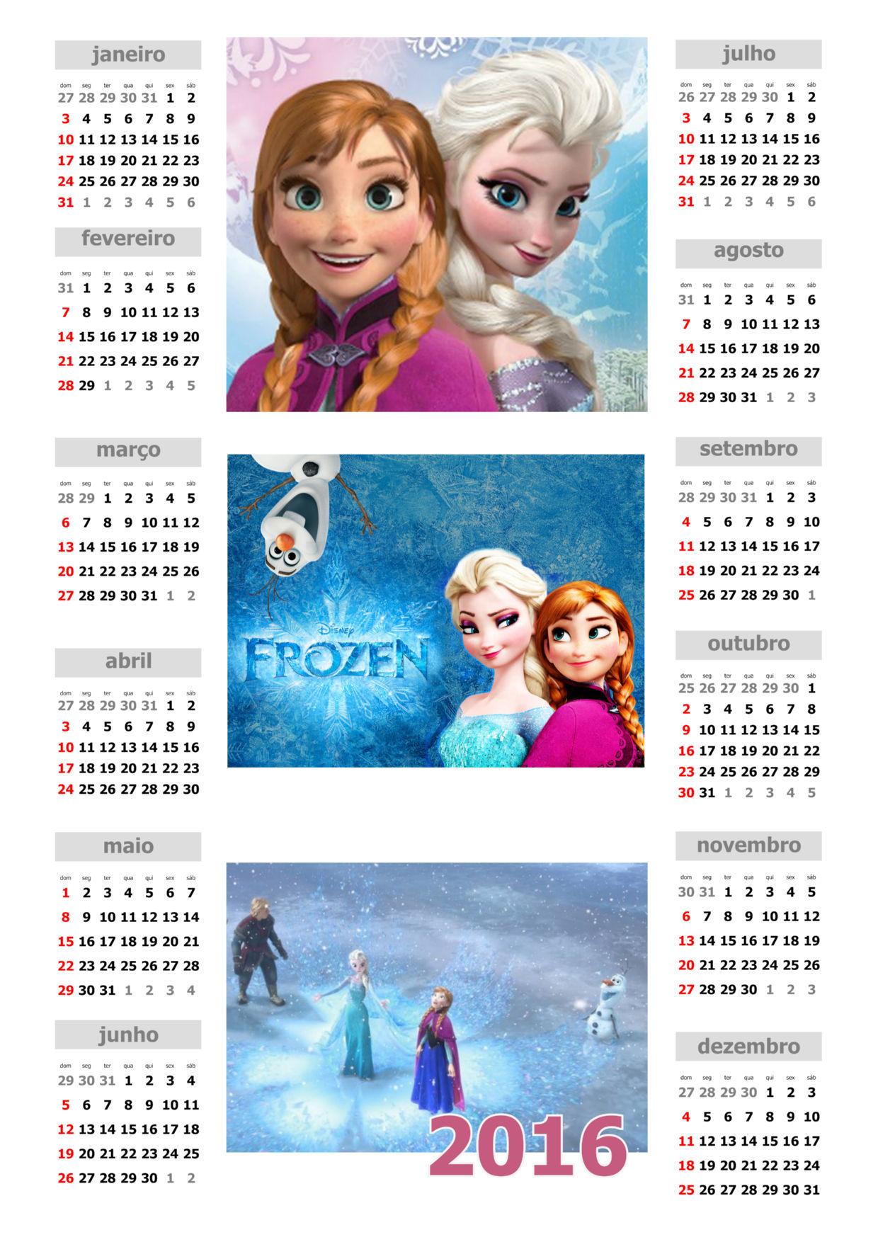 para imprimir calendário frozen 2016 para imprimir calendário 2016 ...