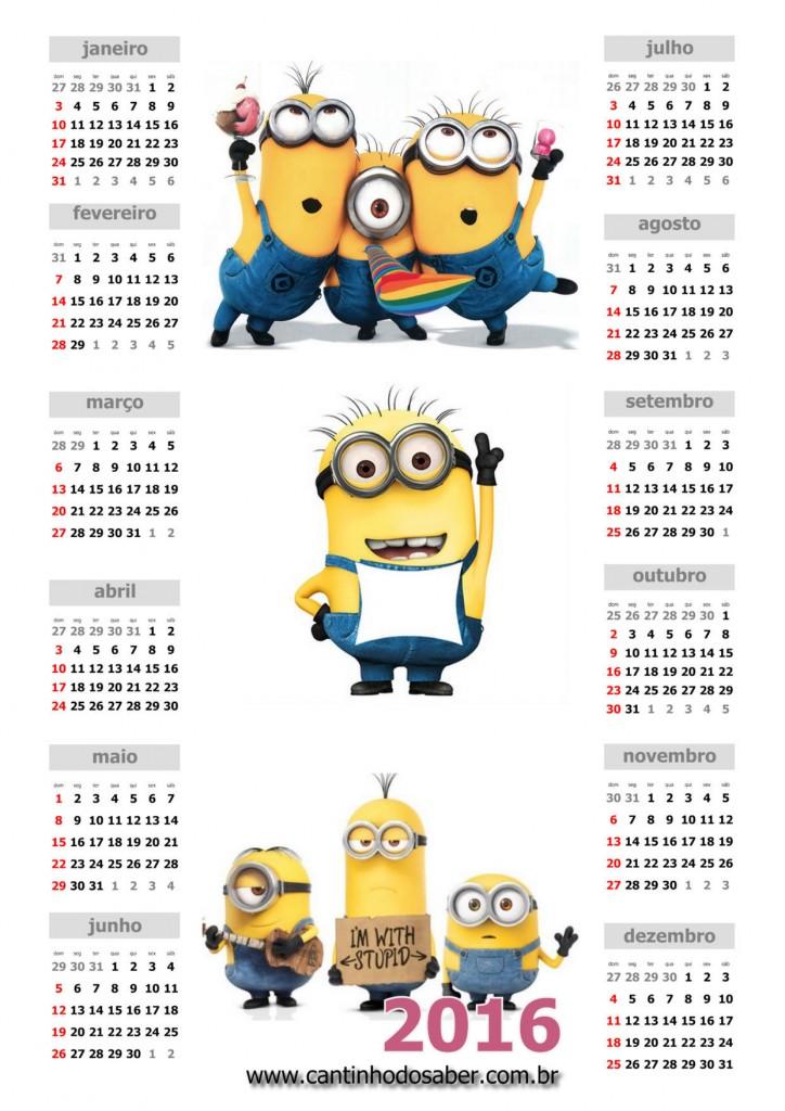 Calendário 2016 Minions
