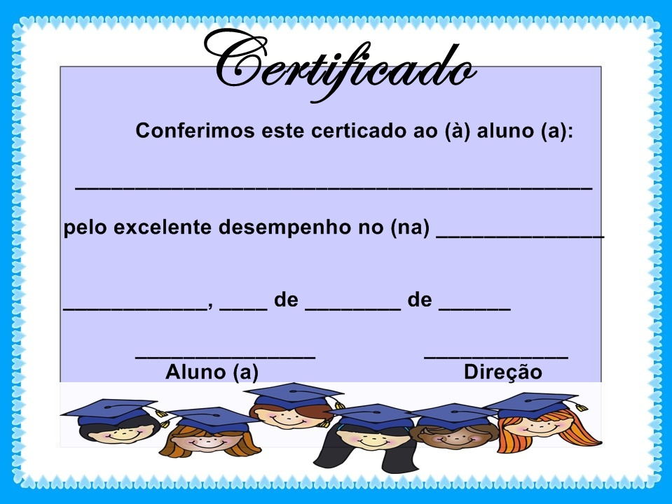 modelo de diploma para educação infantil