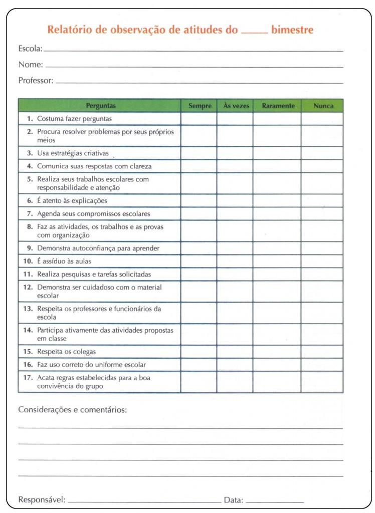 modelo de ficha relatório de avaliação diagnóstica