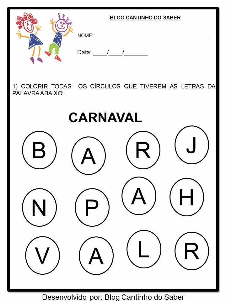 Atividades para o carnaval