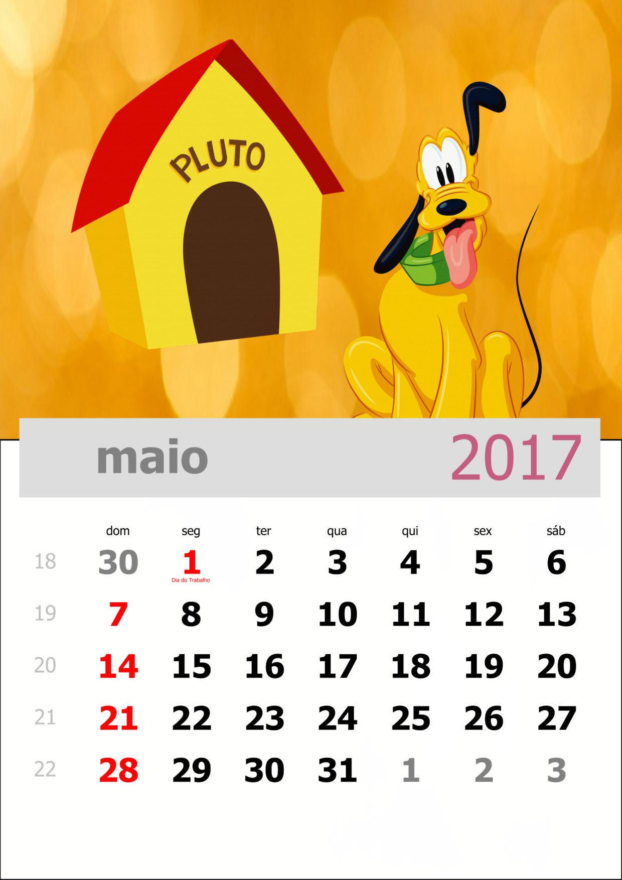 Calendario 2017 Turma Do Mickey Mensal