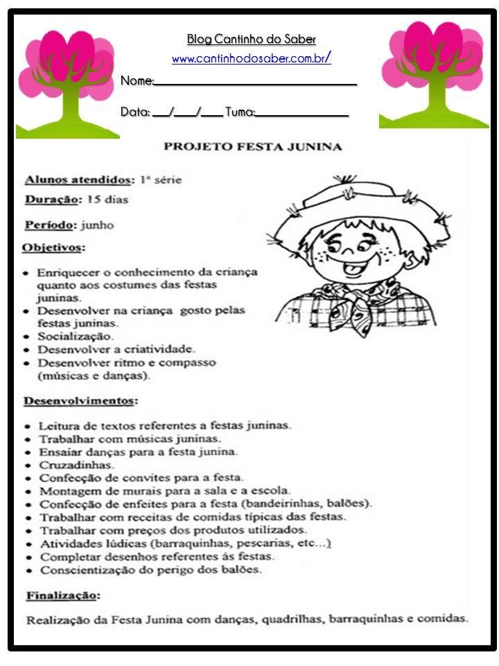 Projeto Festa Junina Atividades Para A Educacao Infantil
