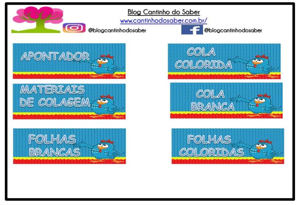 Etiquetas de identificação de materiais da Galinha Pitadinha.