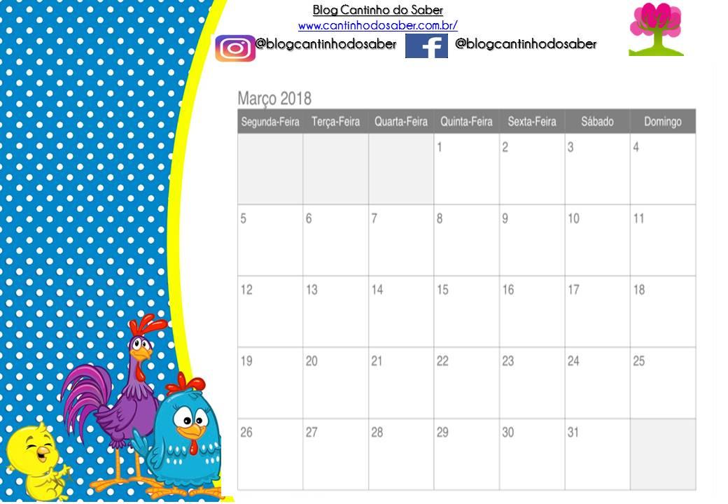 Arquivos Calendário Atividades Para A Educação Infantil Cantinho