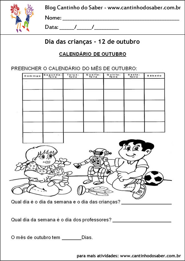 atividade para o dia das crianças e calendario de outubro
