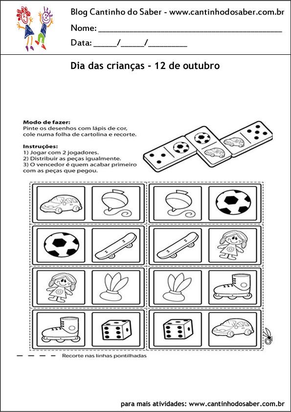 atividades com joguinho para o dia das crianças