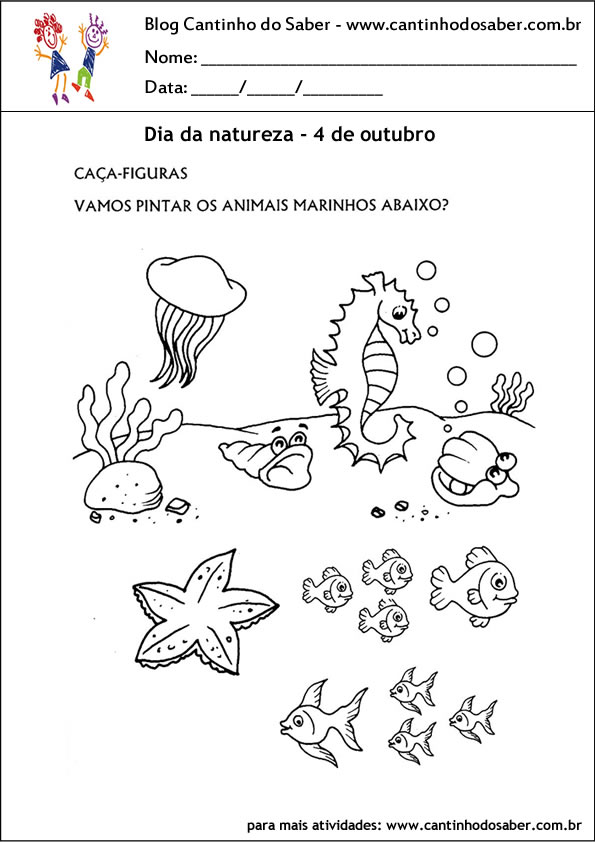 atividades para o dia da natureza pinte os animais marinhos
