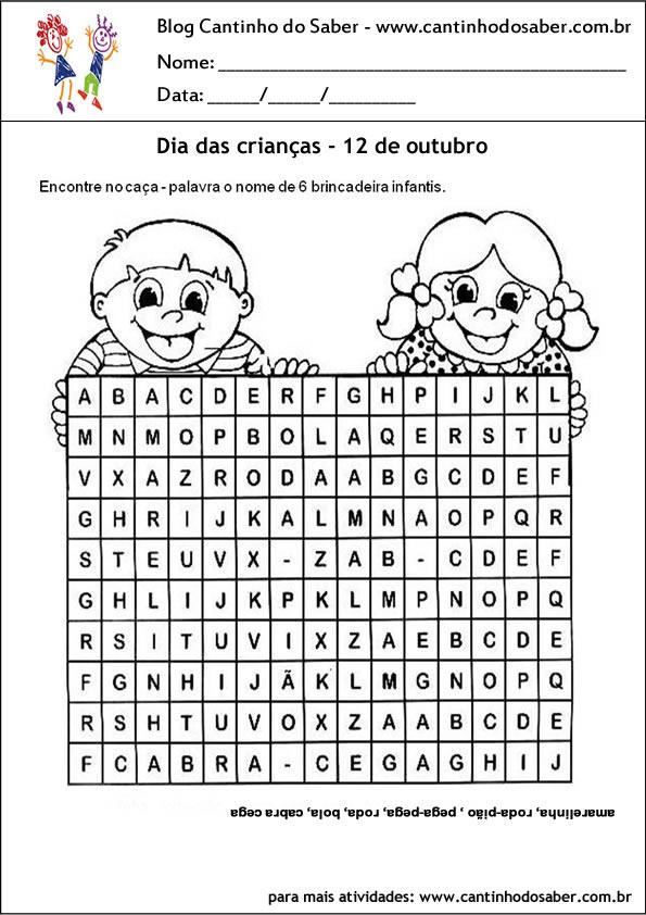 atividades para o dia das crianças caça palavras