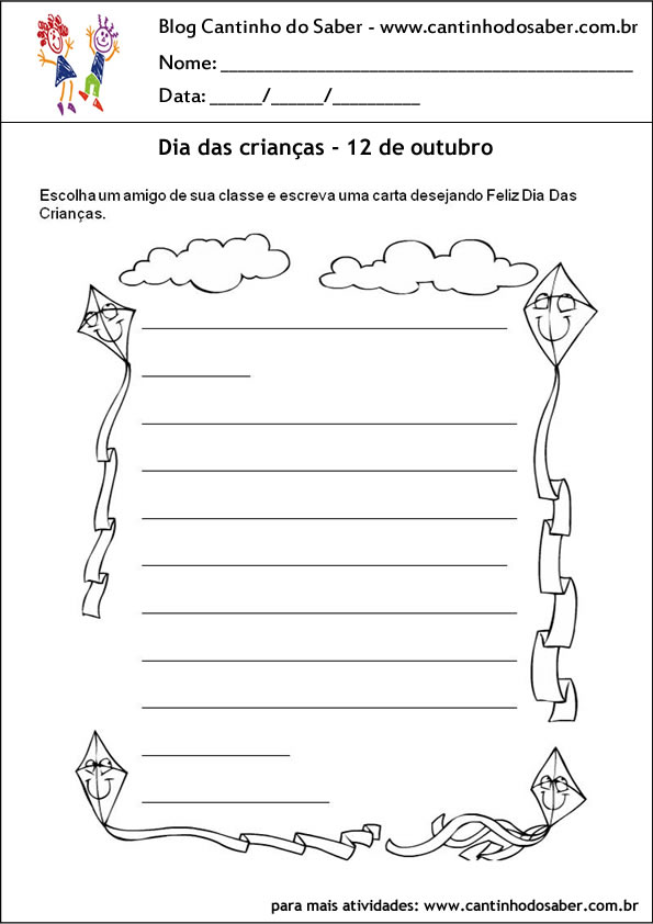atividades para o dia das crianças carta para o amigo
